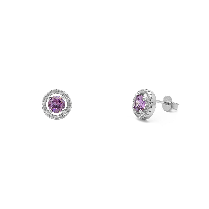 Purple Stone Round-Cut Halo Stud Earrings (Silver) main - Popular Jewelry - New York