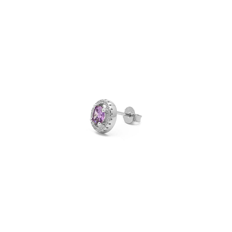 Purple Stone Round-Cut Halo Stud Earrings (Silver) side - Popular Jewelry - New York