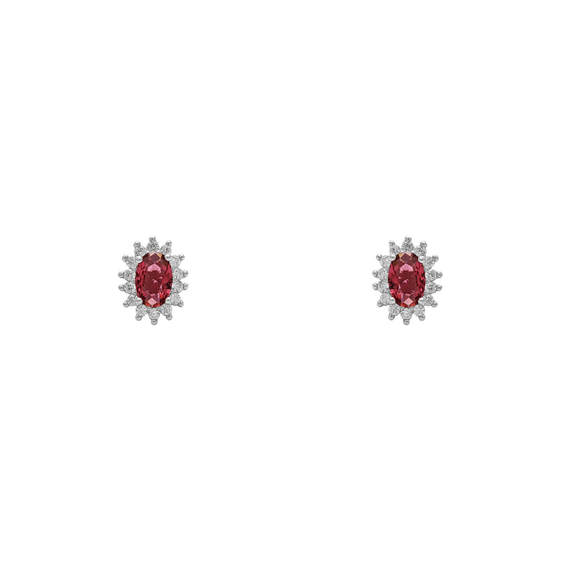 Red Stone Oval-Cut Halo Stud Earrings (Silver) luma - Popular Jewelry - Niu Ioka