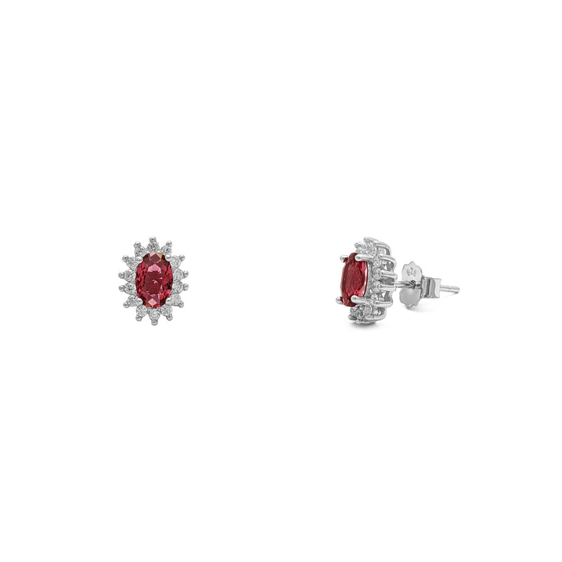 Red Stone Oval-Cut Halo Stud Earrings (Silver) autu - Popular Jewelry - Niu Ioka