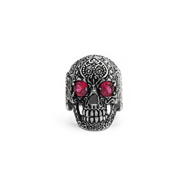 Antique Finish Floral Crimson Eye Skull Ring (Silver) front - Popular Jewelry - New York