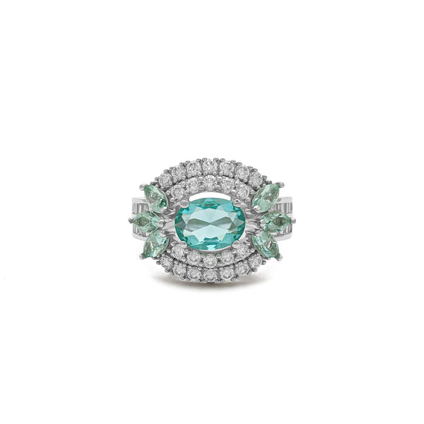 Aqua Eye Double Halo Ring (Sulver) front - Popular Jewelry - New York