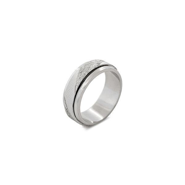 Diagonal Laser Cut Grooved Band (Silver) diagonal - Popular Jewelry - New York