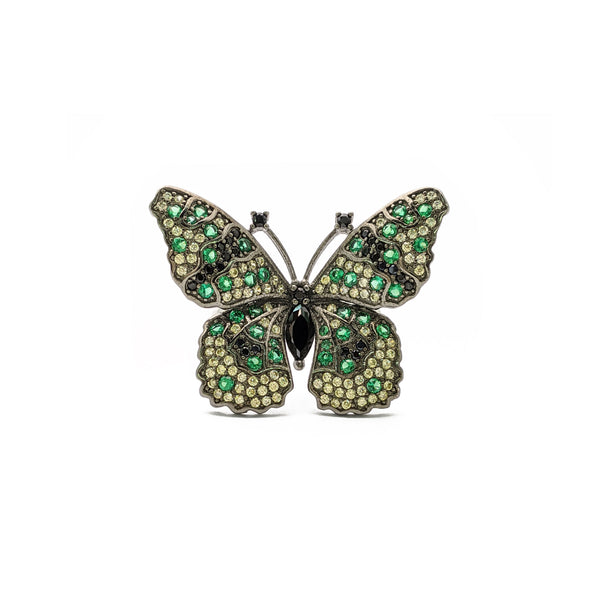 Green Spotted Butterfly Ring (Silver) front - Popular Jewelry - New York
