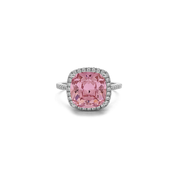 Pink Cushion Cut Halo Ring (Sulver) front - Popular Jewelry - New York