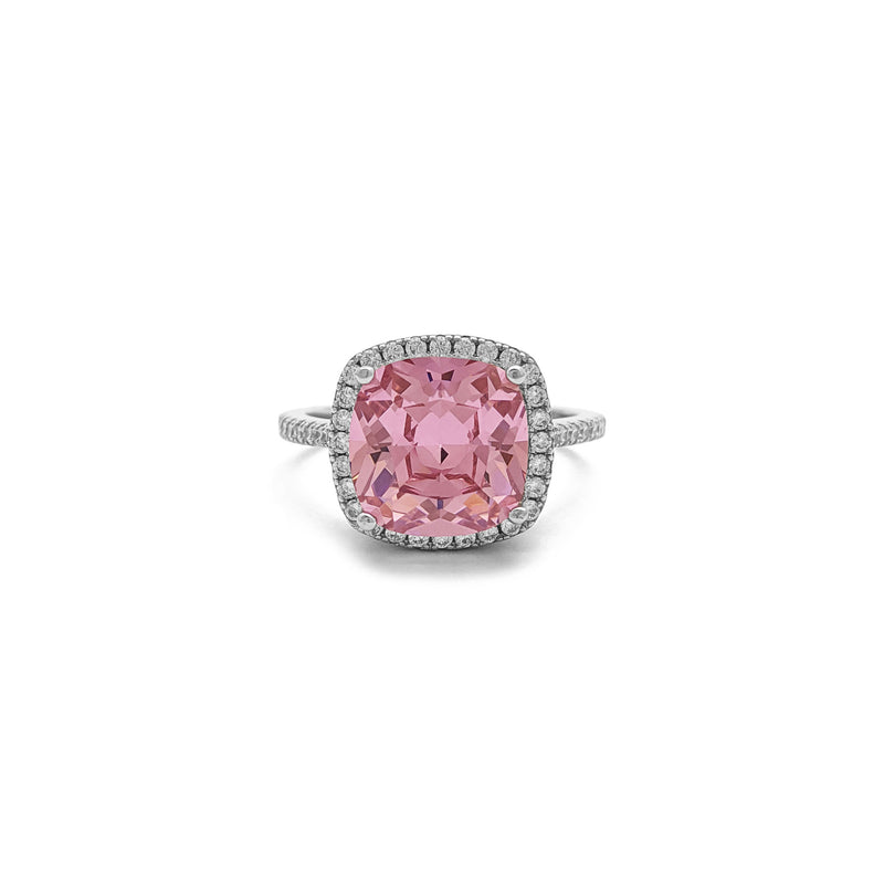 Pink Cushion Cut Halo Ring (Silver) front - Popular Jewelry - New York