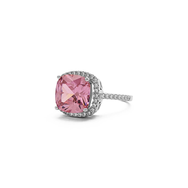 Pink Cushion Cut Halo Ring (Silver) side - Popular Jewelry - New York