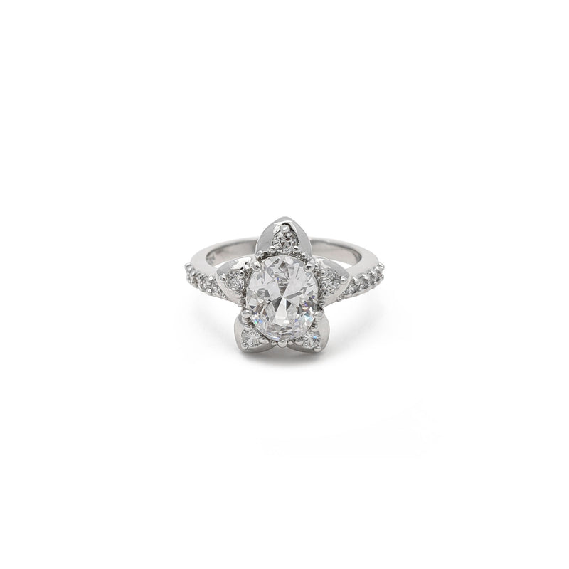 Starry Flower Oval Ring (Silver) front - Popular Jewelry - New York