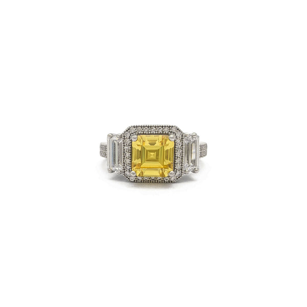 Yellow Asscher Cut Three Stone Ring (Silver) front - Popular Jewelry - New York