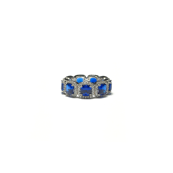 Blue Princess CZ Eternity Halo Ring (Sulver) front - Popular Jewelry - New York