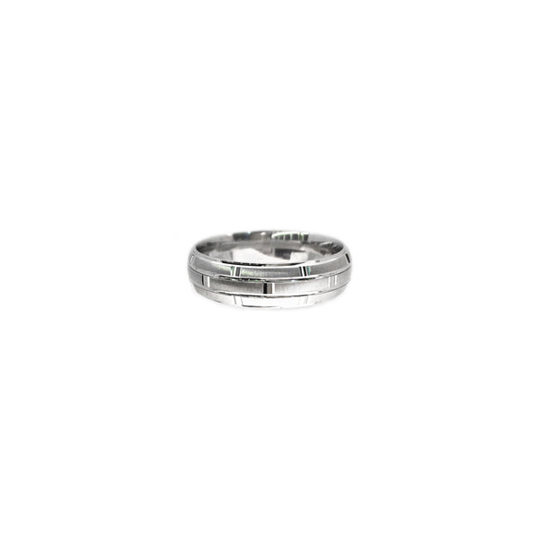 Brick Patterned Ring (Silver) front - Popular Jewelry - New York