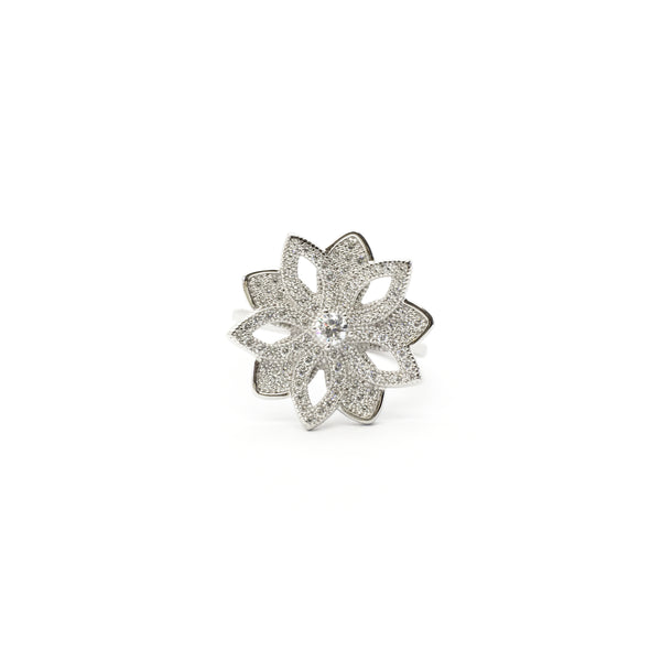 Five Petals Flower Outline CZ Ring (Silver) front - Popular Jewelry - New York