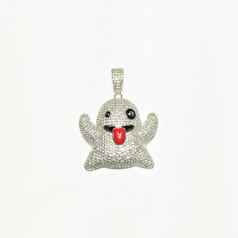 Ghost Emoji Iced-Out Pendant (Silver) - Popular Jewelry