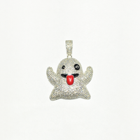 Ghost Emoji Iced-Out Anhänger (Silber) - Popular Jewelry