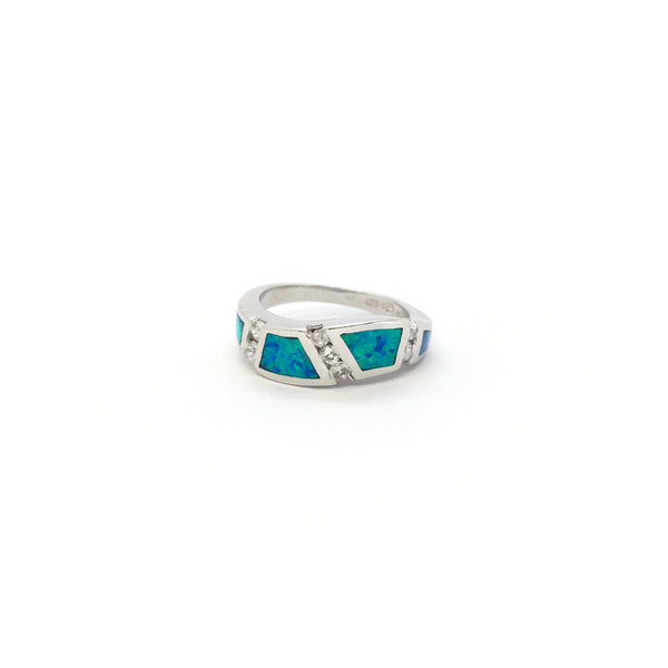 Opal Wavy CZ Ring (Silver) front - Popular Jewelry - New York