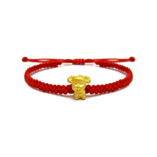 Vrolijke Geit Chinese Zodiac Red String Armband (24K) voorkant - Popular Jewelry - New York