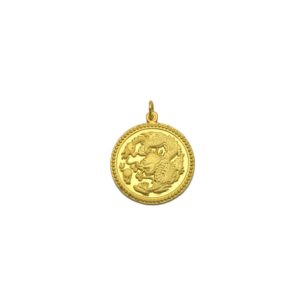 Dragon Zodiac Sign Happiness Medallion Pendant (24K) front - Popular Jewelry - New York