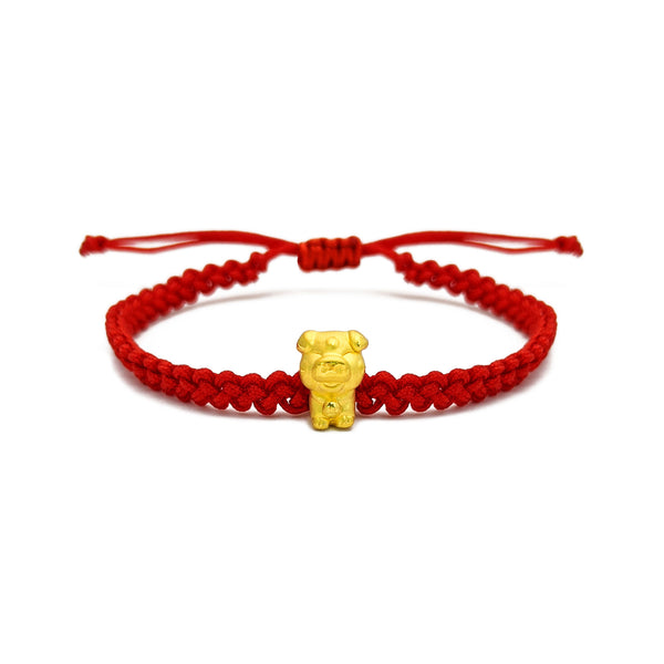 Joyful Little Pig Chinese Zodiac Red String Bracelet (24K) voorkant - Popular Jewelry - New York