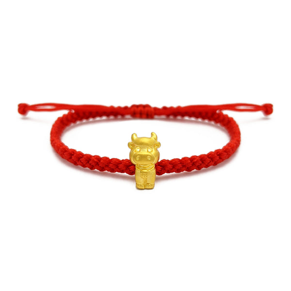 Little Ox Chinese Zodiac Red String Bracelet (24K) voorkant - Popular Jewelry - New York