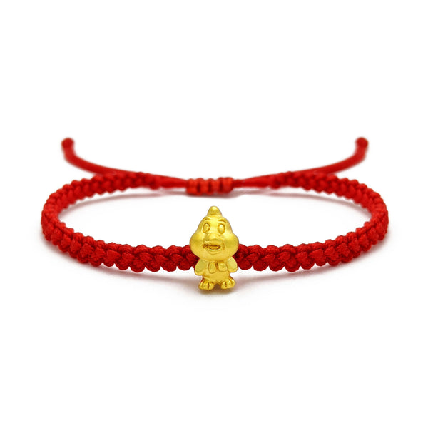 Little Rooster Chinese Zodiac Red String Bracelet (24K) voorkant - Popular Jewelry - New York