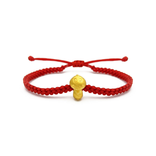 Little Snake Chinese Zodiac Red String Bracelet (24K) voorkant - Popular Jewelry -New York