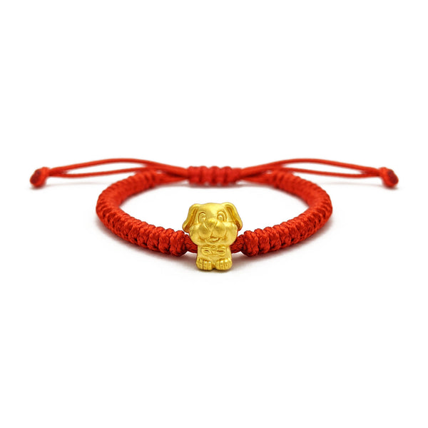 Lovely Dog Chinese Zodiac Red String Bracelet (24K) voorkant - Popular Jewelry - New York