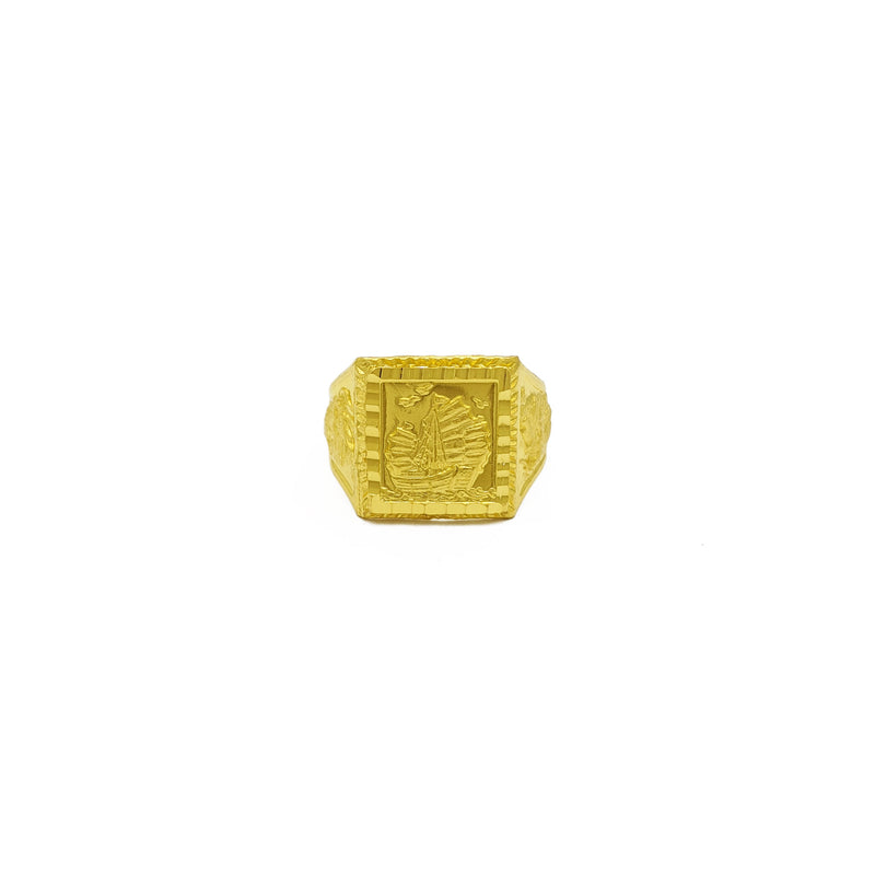 Chinese Sailing Ship 帆船 Ring (24K) front - Popular Jewelry - New York