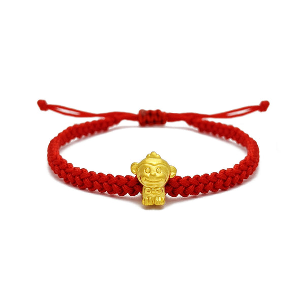 Happiness Monkey Chinese Zodiac Red String Bracelet (24K) voorkant - Popular Jewelry - New York