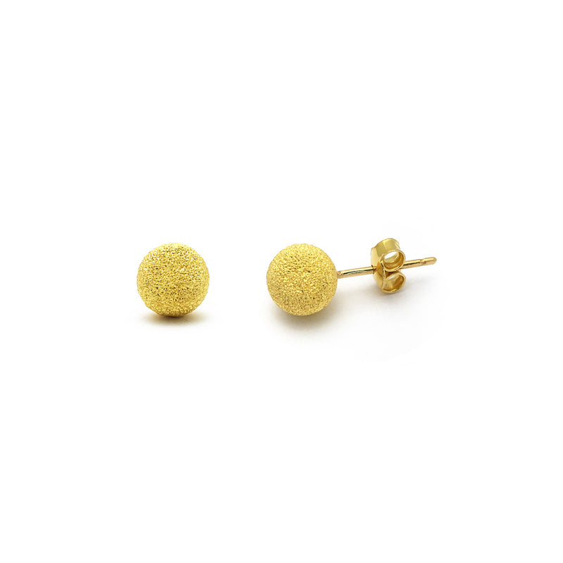 Ball Laser Cut Stud Earrings Extra-Large (24K) front - Popular Jewelry - New York