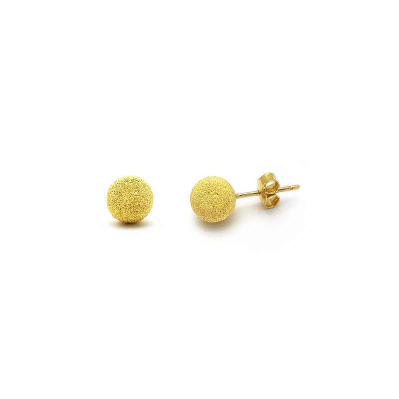 Ball Laser Cut Stud Earrings Large (24K) front - Popular Jewelry - New York