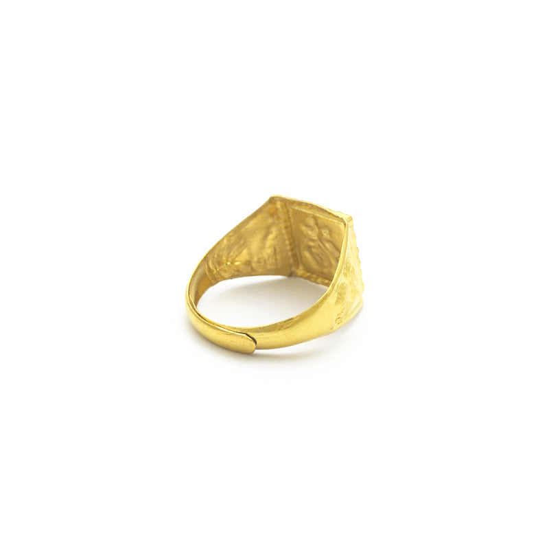 Good Fortune Logogram Adjustable Ring (24K) back - Popular Jewelry - New York