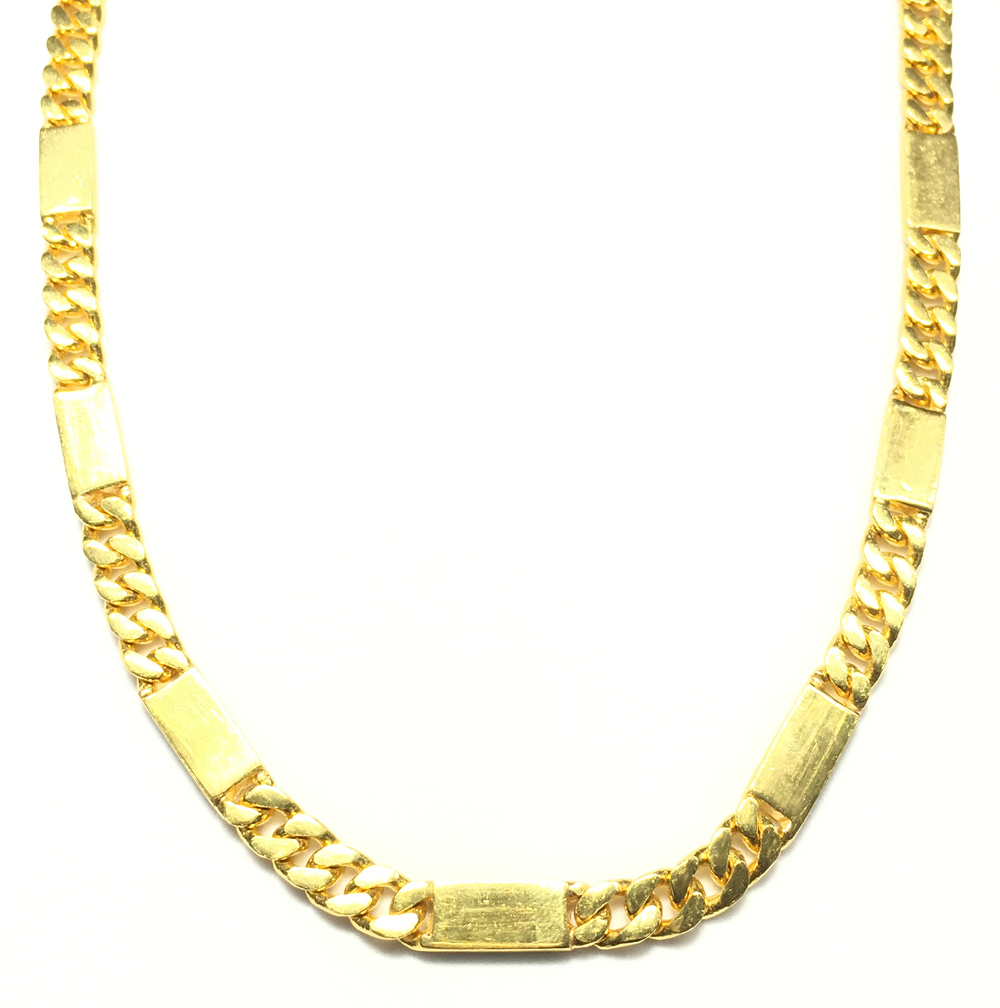 24K Yellow Gold Solid Necklace - Popular Jewelry