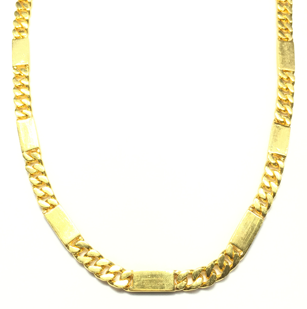 Rjochthoekige Bar Figaro Solid Necklace (24K) foar - Popular Jewelry - New York