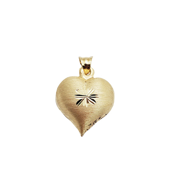 Brushed One-Star Heart Pendant (14K)