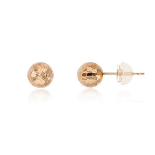 [Disco] Rose Gold Ball Stud Earrings (14K)