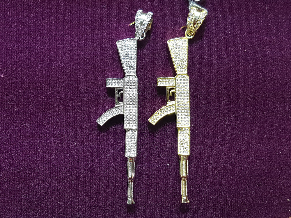 Iced-Out AK47 Rifle Pendant Silver - Popular Jewelry