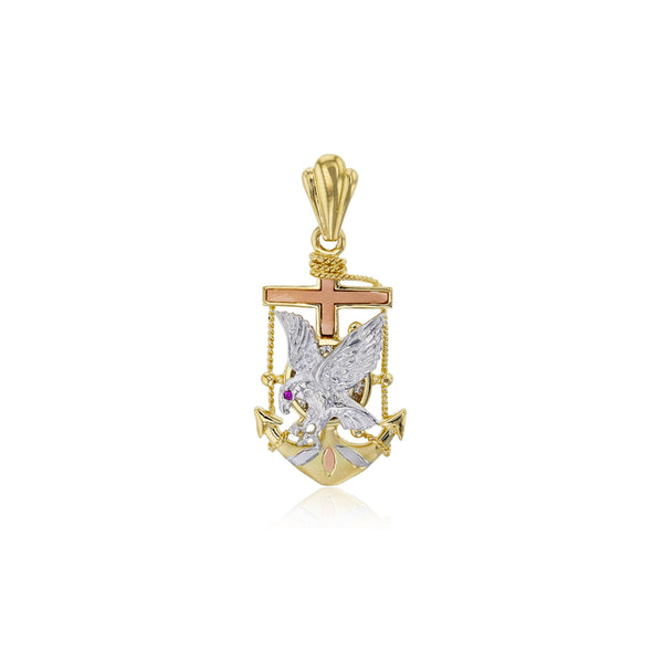 Tricolor Anchor Eagle Pendant (14K)