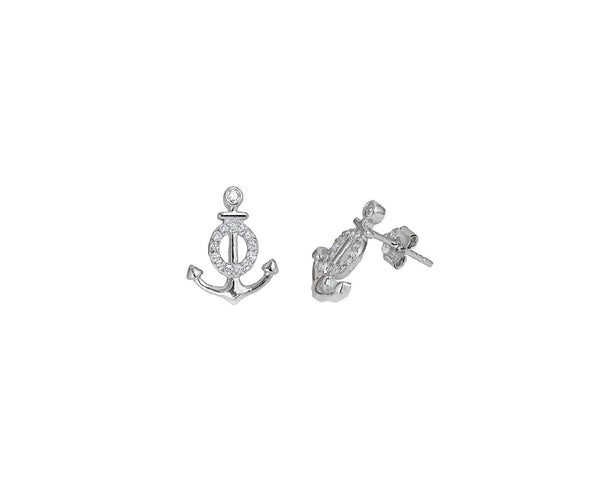 Anchor Stud CZ Earrings (Silver)