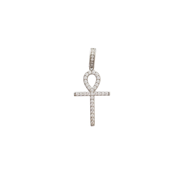 Iced-Out Ankh Pendant (Silver)
