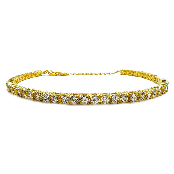 Adjustable Zirconia Tennis Bracelet (Yellow Silver) Popular Jewelry New York