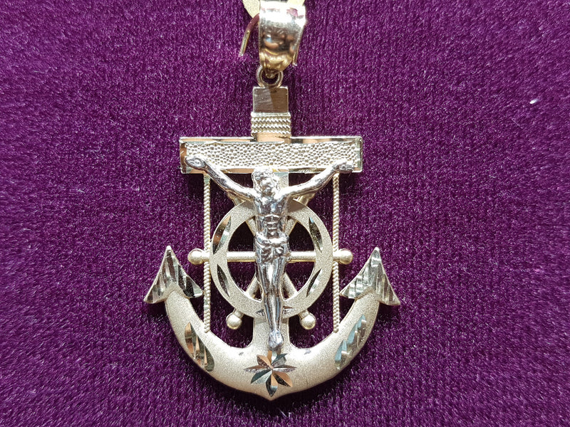 Diamond Cut Jesus Anchor Pendant 10K - Lucky Diamond 恆福珠寶金行 New York City 169 Canal Street 10013 Jewelry store Playboi Charlie Chinatown @luckydiamondny 2124311180