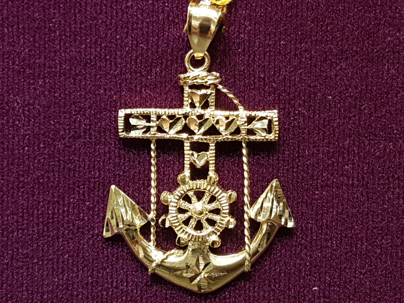 Anchor Pendant 10K - Lucky Diamond 恆福珠寶金行 New York City 169 Canal Street 10013 Jewelry store Playboi Charlie Chinatown @luckydiamondny 2124311180