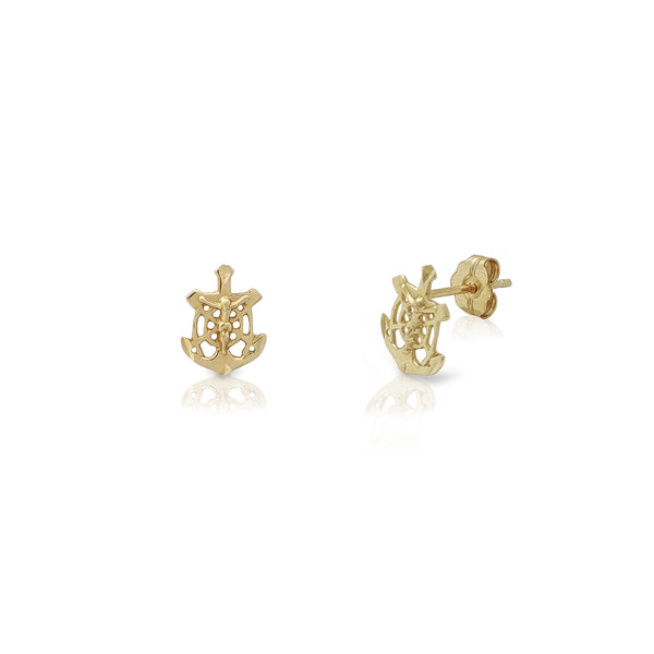 Anchor Crucifix Stud Earrings (14K) Popular Jewelry New York