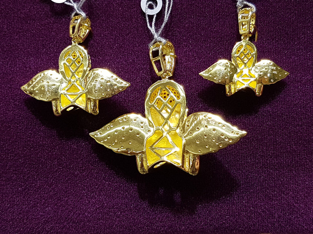 Iced-Out Praying Half Angel Pendant Silver Yellow Rear View Multiple Size Comparison - Popular Jewelry