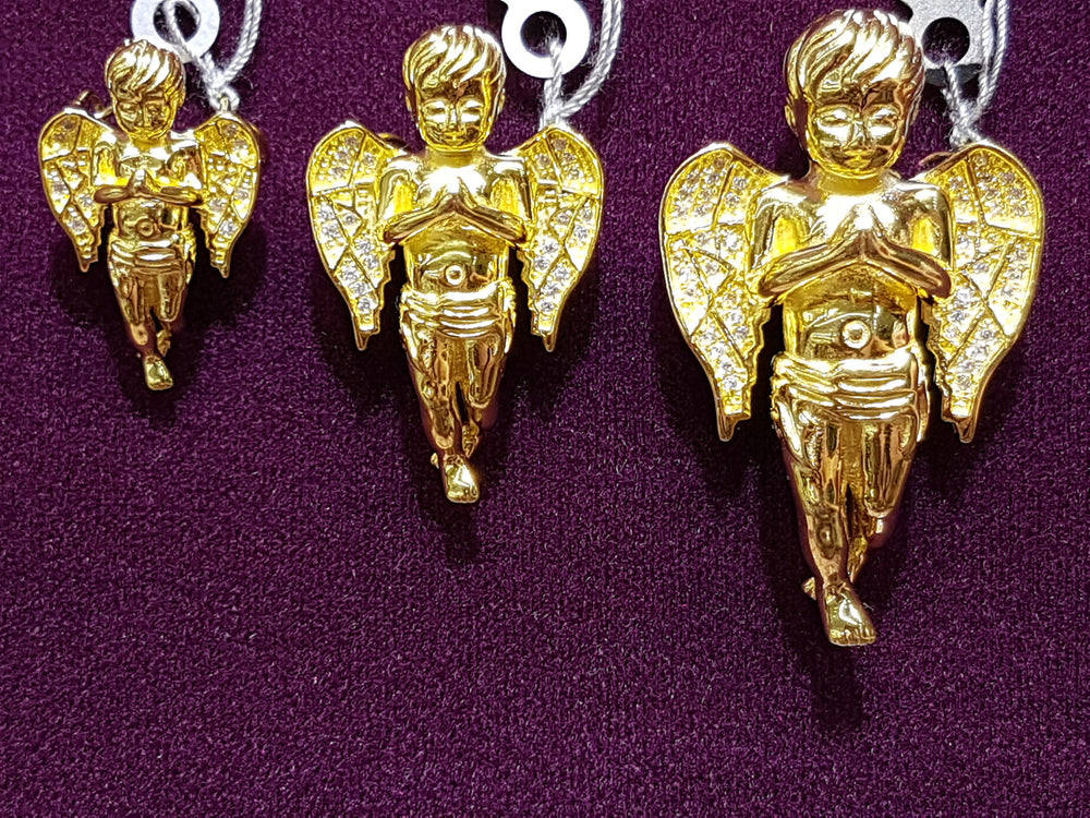 Iced-Out Praying Angel Pendant Silver (Yellow) - Popular Jewelry