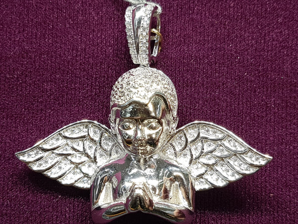 Iced-Out Praying Half Angel Pendant Silver - Lucky Diamond 恆福珠寶金行 New York City 169 Canal Street 10013 Jewelry store Playboi Charlie Chinatown @luckydiamondny 2124311180