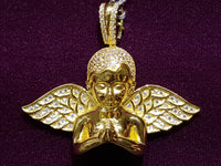 Pag-ampo sa Iced-Out Half Angel Pendant Silver Dilaw 45 mm - Popular Jewelry