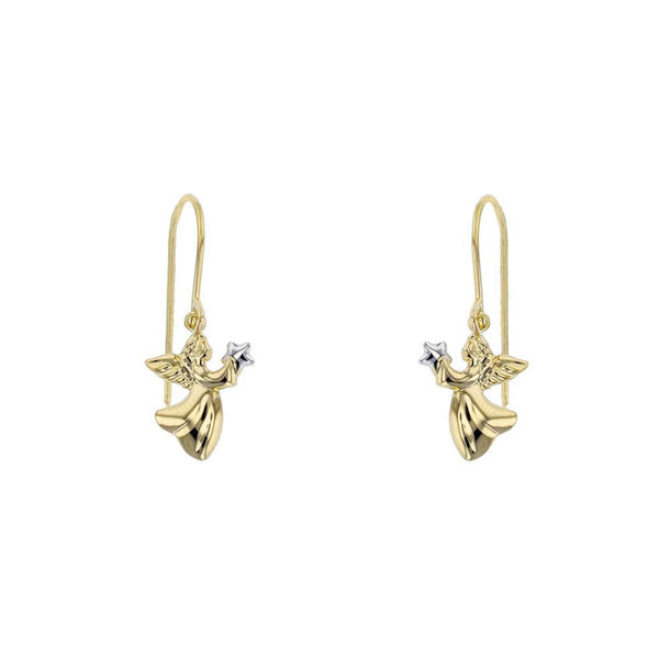 Angel Holding Star Dangling Earrings (14K) Popular Jewelry New York