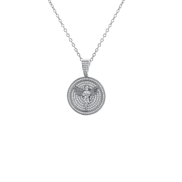 Angel In Medallion Necklace (Silver)