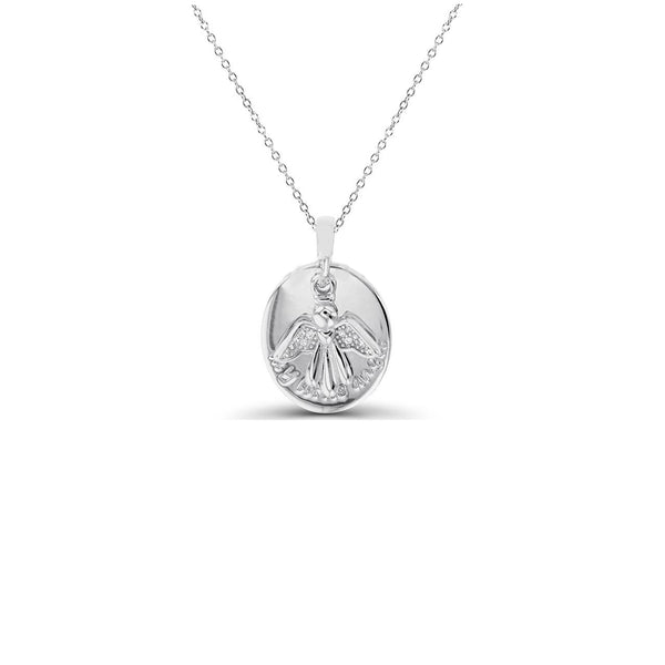 Angel Oval Shape Necklace (Silver)